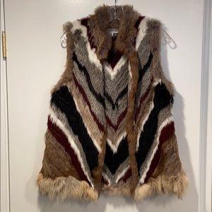 Elizabeth and James Genuine Rabbit Fur Vest